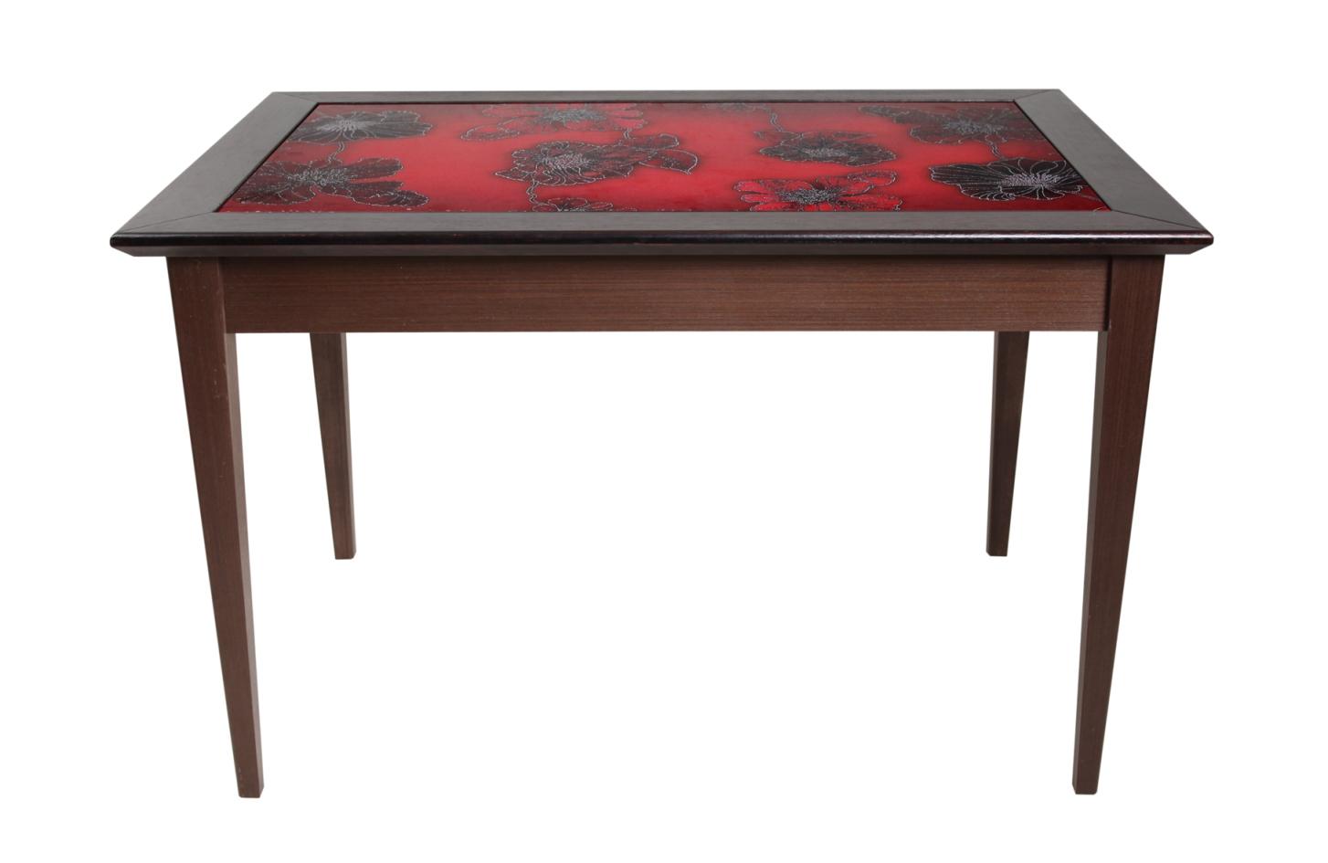стол из шпона со стеклянной столешницей